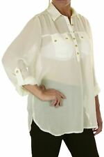 ICE Ladies Chiffon Shirt Blouse Top With Gold Buttons Cream 8-10