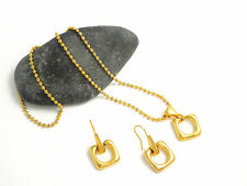 Necklace /Earrings Set Gold Tone Square Pendant Ball Beaded Chain Fish Hooks NEW