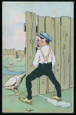 Comic risque humor nude theme goose blow male original old 1900s postcard