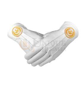 Masonic Regalia White Soft Leather Gloves Square Compass & G Yellow & Blue
