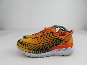 Hoka One One Clifton 4 Orange Yellow Road Athletic Running Shoes Mens Size 9.5 M