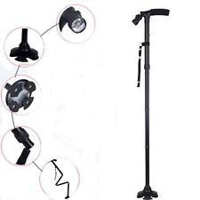 Portable Handle Folding Cane Stick Pivot Base With LED Lights For Walking Walker