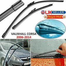 "2006-14 Flat Aero Wiper Blades Set Vauxhall Corsa D Front Windscreen 26""-16"" Inc"