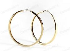 8cm BIG CHUNKY HOOP EARRINGS large GOLD PLATED thick square metal plain hoops