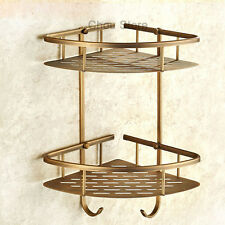 Antique Brass Two Layers Soap Cosmetics Basket Wall Mounted Bathroom Shelves 055
