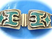 VINTAGE STERLING SILVER NAVAJO NATIVE AMERICAN TURQUOISE WATCH TABS SIGNED