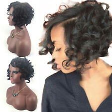 Brazilian Virgin Faux Human Hair Short Bob Curly Full Synthetic Wig Wigs Fad