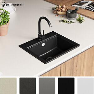 PRIMAGRAN Granitspüle Spülbecken Einzelbecken Spüle Küchenspüle Einbauspüle