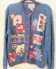HEIRLOOM COLLECTIBLES Blue Sweater Valentines Embroidery Hearts/Roses XL