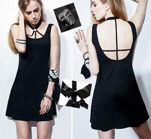 Robe gothique punk lolita collier crucifix tête de mort crânes dos nu Punkrave