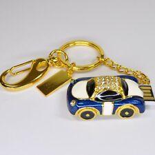 clé USB 8 GB Strass Pendentif Bijoux Auto Rétro Osez Car bleu blanc