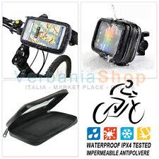 SUPPORTO IMPERMEABILE BICICLETTA MOTO SMARTPHONE iPHONE 5 5C 5S mis. 12,5 x 6 cm