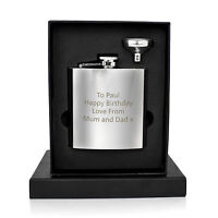 Personalised Engraved Stainless Steel 6oz Hip Flask, Funnel+Gift Box - Frutiger