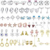 Women Fashion Sterling Silver 925 Earrings European Luxury Ear Stud Huggie Hook