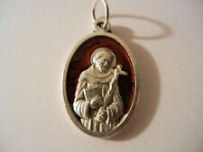 "Saint Francis Red Enamel 1"" tall oval medal New Made in Italy"