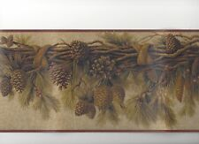 Pine Cone & Needles Branch Swag with Burgundy Edge Wallpaper Border SB10308B