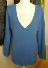 CALYPSO ST. BARTH Gylden Blue 100% Cashmere Double V-Neck Sweater Pull over Sz M