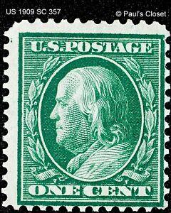 US 1¢ FRANKLIN GREEN ON BLUISH PAPER 1909 SC 357 MNH OG P12   FINE/VERY FINE