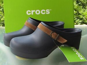 Crocs Womens Size 9 Navy Rubber Buckle Slip-On Sarah Clogs Comfort Shoes NEW