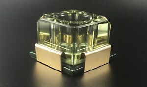 1900 Vintage Heirloom Glass Inkwell - Tinted Green & Gold w/ Base + Pen Rest