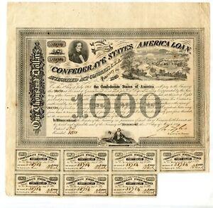 1863  $1000  Confederate Bond   View of Richmond   .B-201