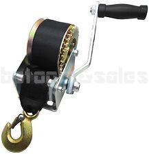 600lbs Hand Winch Hand Crank Strap Gear Winch ATV Boat Trailer Heavy Duty Black