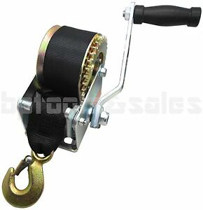 600lbs Hand Winch Hand Crank Strap Gear Winch ATV Boat Trailer Heavy Duty Black