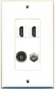DecorZ - 1 Gang Decorative 2 HDMI Coax Toslink Wall Plate White