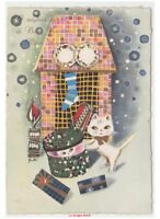 Galbi Card Vintage Years 60 Cats Bianchi Gifts Christmas Stocking Fireplace