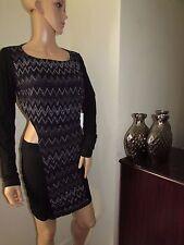 Asos Bodycon Mini Sleeves Cutout  Dress Sparkle Glitter Print 18 Black/Silver