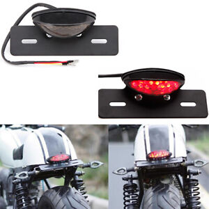 LED Motorcycle Turn Signal Brake License Plate Integrated Tail Light Smoke Len A