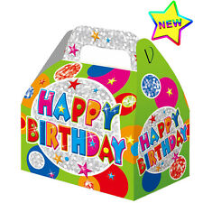 3 Happy Birthday Party Boxes Food Loot Lunch Cardboard Gift Childrens Kids