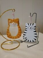 Cat Christmas Ornaments Set Of 2 Black and White and Orange Cats