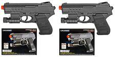 """Set Of 2 Spring Airsoft Guns Pistol 6.5"""" Black Laser FlashLight 175fps BB m888af"""