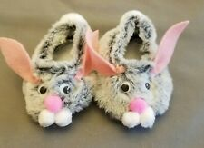 Cabbage Patch Kids Bunny Fur Slippers Shoes Gray Grey