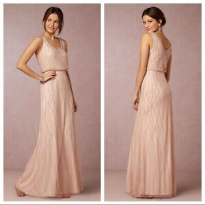Anthropologie BHLDN Blush Pink Brooklyn Dress Adrianna Papell-$280 SZ 2 beaded