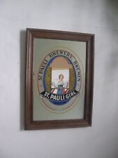 VINTAGE ST. PAULI GIRL MIRROR/SIGN WOOD FRAME BREMEN GERMANY MAN CAVE WALL