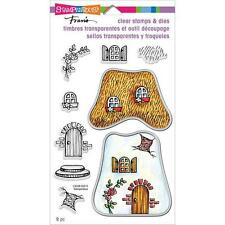 New stampendous RUBBER STAMP clear Set & DIE COTTAGE House free usa ship