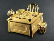 Pin Brooch Student Teatcher Desk (Br12) Vintage Jj Janette Jewelry Gold Tone