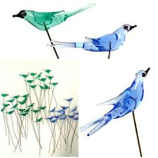 41 Blown Glass Birds On Brass Wires – For Crafts Or Floral Decoration