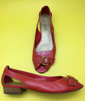 Pretty FRANCO SARTO 7.5 Red Leather Peep Toe Flats Ballet Low Heels Gold Buckle