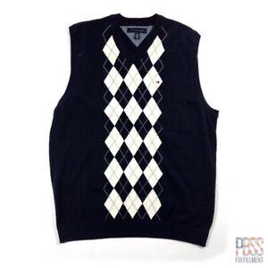 Tommy Hilfiger Mens XL Sleeveless V-Neck Cotton Sweater Vest Regular Argyle Blue