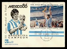 DR WHO 1986 ARGENTINA FDC WORLD SOCCER CUP SPORTS CACHET BLOCK  f95234