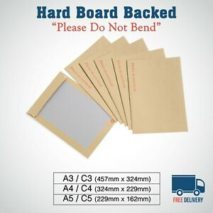 HARD CARDBOARD BACK BACKED 'PLEASE DO NOT BEND' ENVELOPES MANILLA BROWN A3/A4/A5