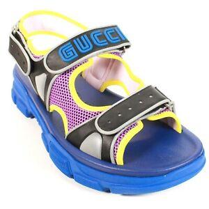 Gucci - New - Mens 13G Blue Aguru Trek Sandals - Leather Mesh Strap US 11.5 - 11