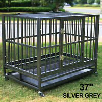 """XL 37"""" Dog Cage Crate Heavy Duty Kennel Strong Metal Pet Playpen w/Tray Portable"""