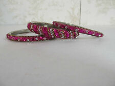 Set of 3 Bangle Bracelets Made in India Pink in Color with Jewel Adornments