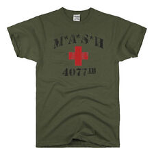 MASH 4077th tv Division Vintage Style Distressed sitcom 70s ARMY GREEN T-SHIRT M