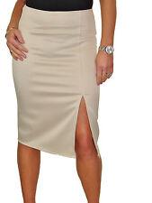 Front Slit Evening Bodycon Satin Look Pencil Skirt Beige NEW 6-18