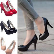 Women Sweet Work PU Leather Round Toe Stiletto High Heels Pumps Slip On Shoes